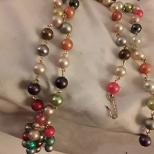 Pearl chain multi strand color tassel necklace